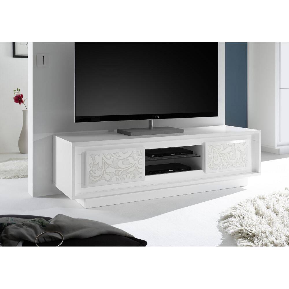 Hifi TV-Element SOLENZO-63 italienisches Design in weiß Lack matt mit Floraldruck und Soft-Close - B/H/T: 156/45/50cm