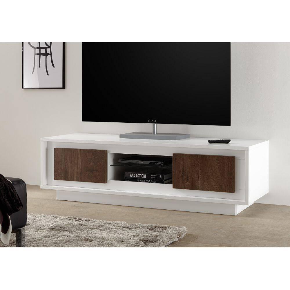 TV-Unterschrank SOLENZO-63 in weiß Lack matt / Eiche Cognac Nb. - italienische r Stil, mit Soft-Close - B/H/T: 156/45/50cm