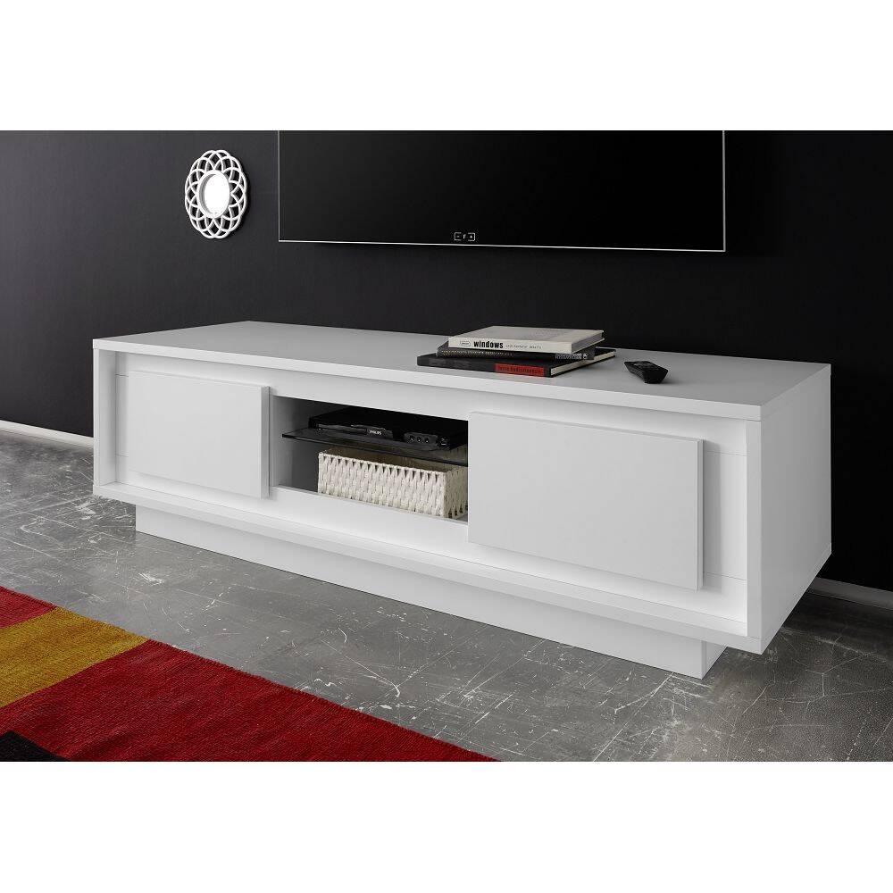 Wohnzimmer Fernseh Lowboard SOLENZO-63 in weiß Lack matt - italienisches Design, mit Soft-Close - B/H/T: 156/45/50cm