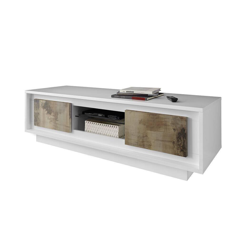 Fernseh Lowboard SOLENZO-63 TV-Schrank in weiß Lack matt / Pero Nb. - italienischer Stil mit Soft-Close - B/H/T: 156/45/50cm