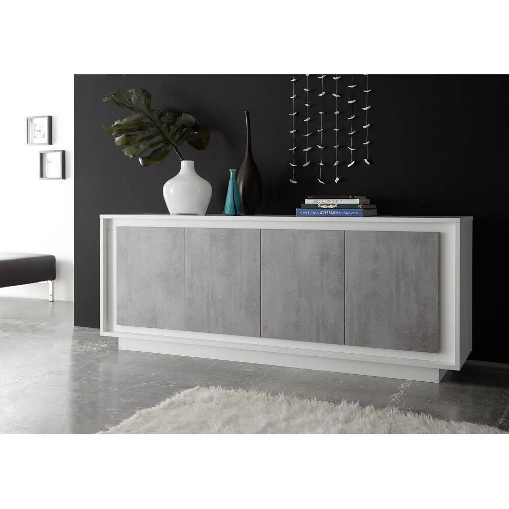 Modernes Sideboard SOLENZO-63 in weiß Lack matt & Beton-Optik mit 4 Soft-Close Türen - B/H/T: 207/80/50cm