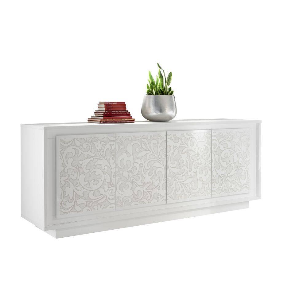 Esszimmer Sideboard SOLENZO-63 Schrank in weiß Lack matt mit schönem Floraldruck - B/H/T: 207/80/50cm