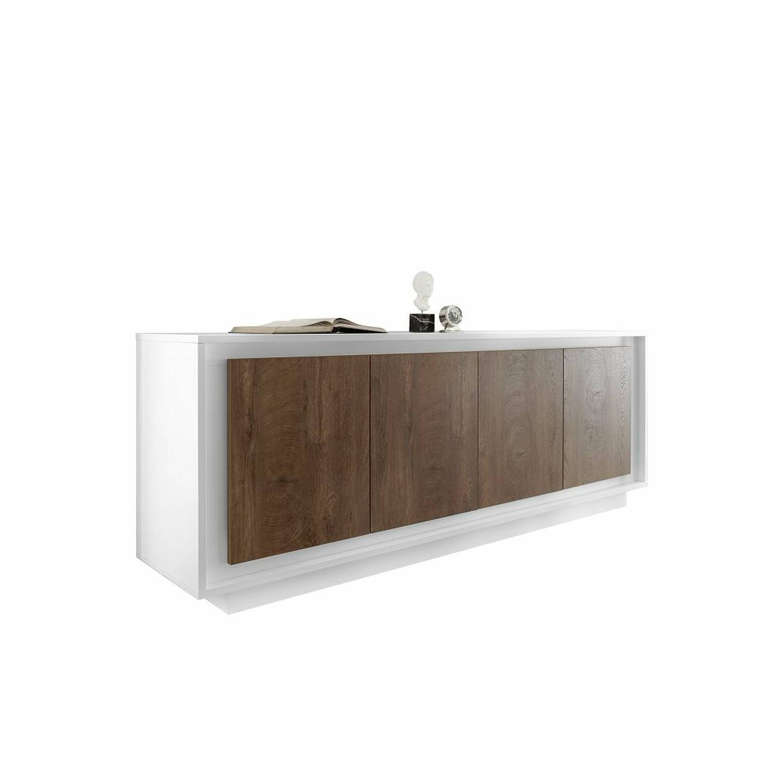 4-türiges Sideboard mit Soft-Close SOLENZO-63 in weiß Lack matt & Eiche Cognac Nb. - B/H/T: 207/80/50cm