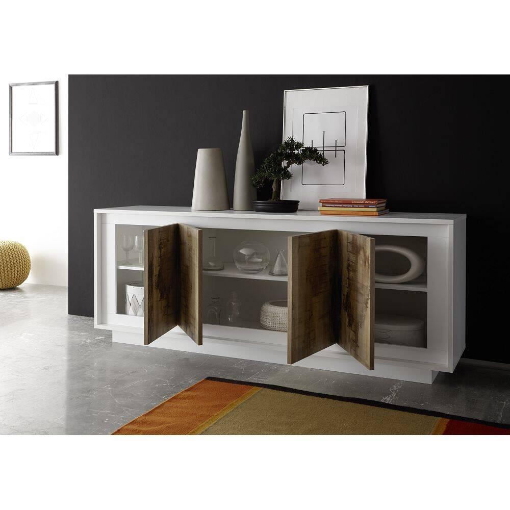 Sideboard mit Soft-Close Türen SOLENZO-63 in weiß Lack matt & Pero Nb. - B/H/T: 207/80/50cm