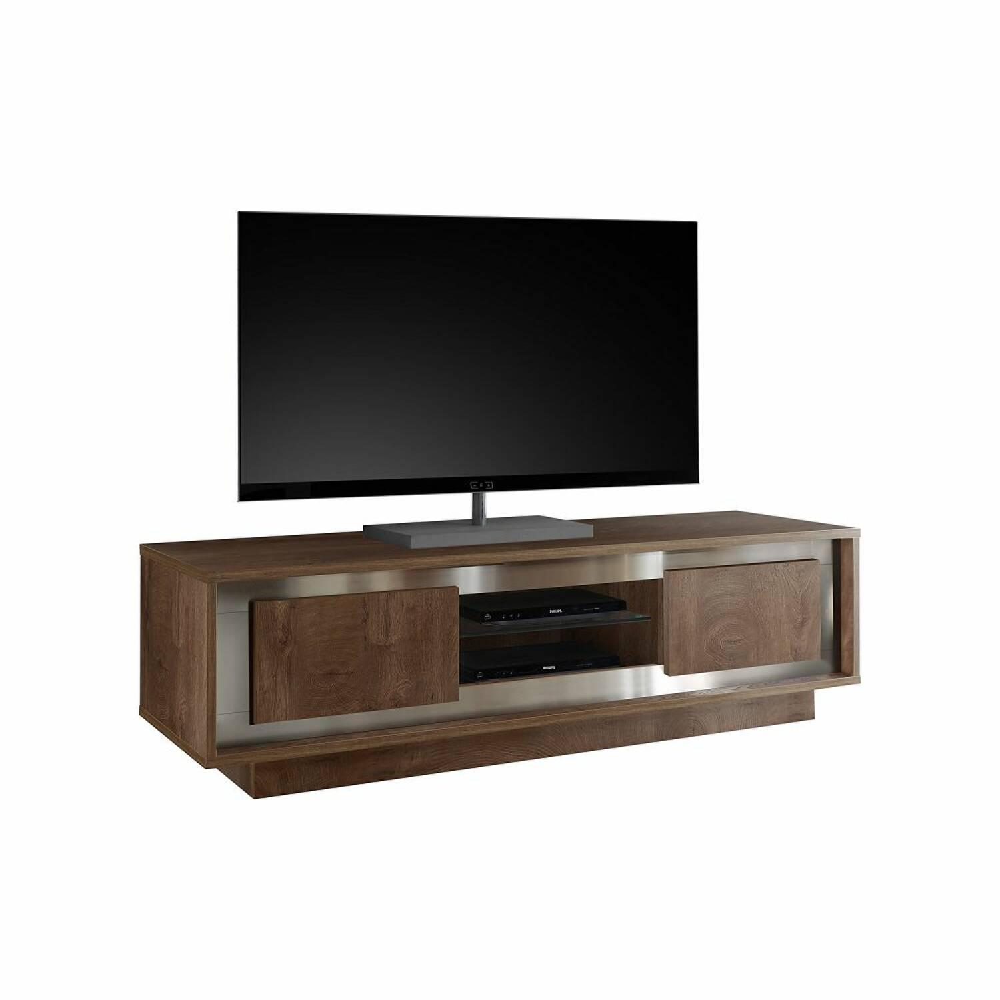 TV-Lowboard SOLENZO-63 komplett in Eiche Cognac Nb. mit Edelstahl Rahmen - B/H/T: 156/45/50cm