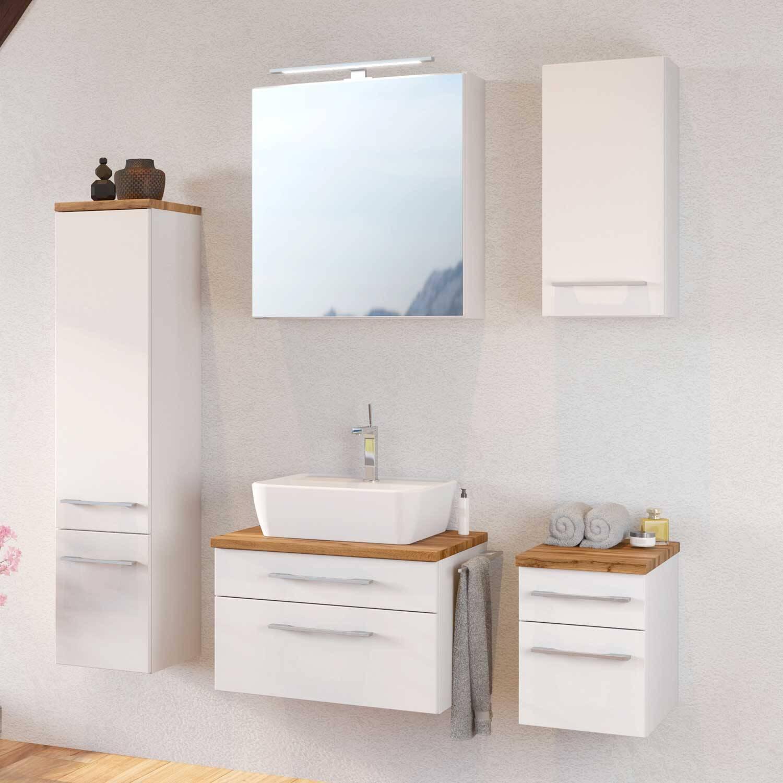 Badmöbel Set TAREE-03, 5-teilig, matt weiß, inkl. Keramik Aufsatzwaschbecken