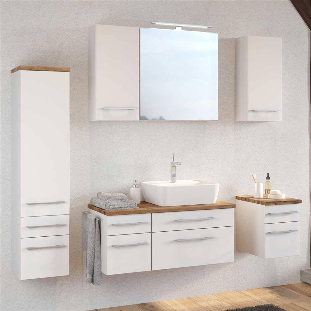 Komplett Badmöbel Set 7-teilig matt weiß inkl. Keramikwaschtisch TAREE-03