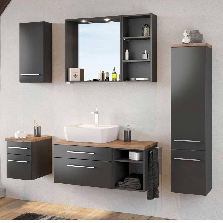Badezimmer Möbel Set inkl. Keramik Aufsatz-Waschbecke