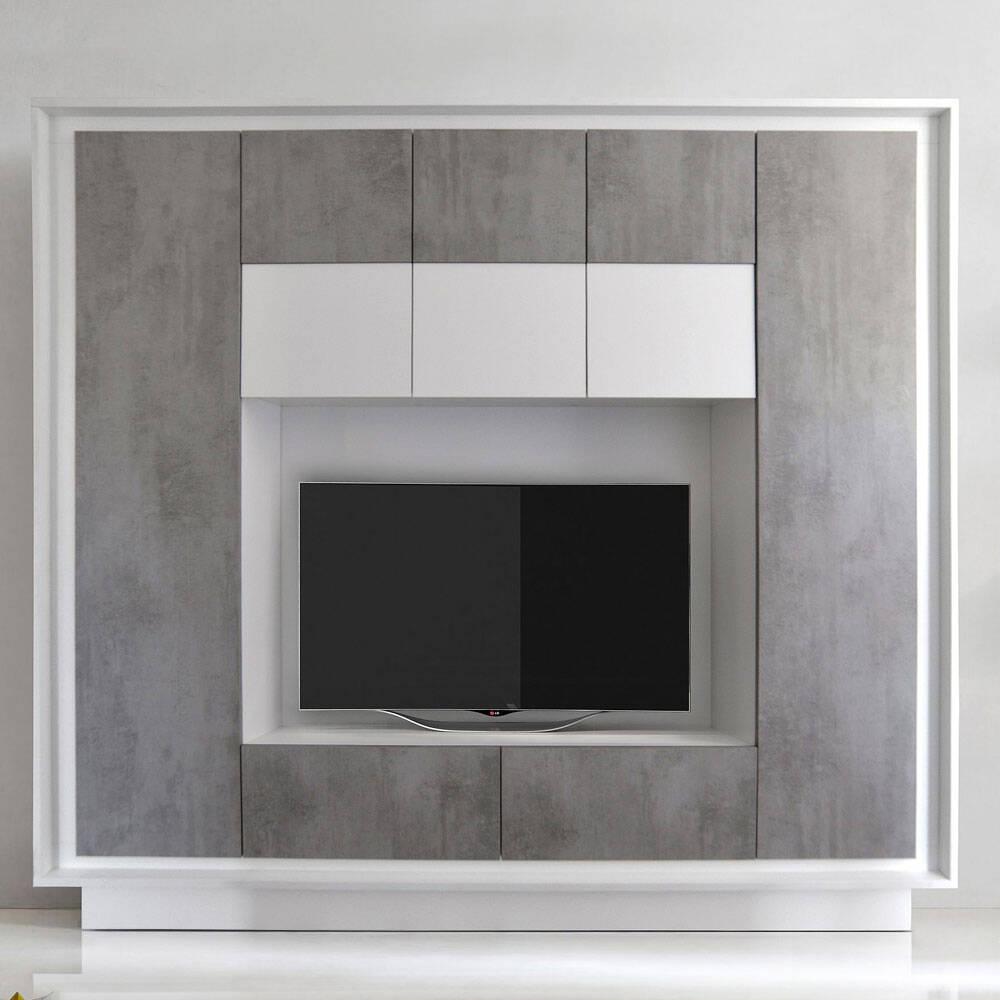 Kompakte Wohnzimmer Wohnwand SOLENZO-63 in Weiß Lack matt & Beton-Optik mit Soft-Close - B/H/T: 240/203/40cm