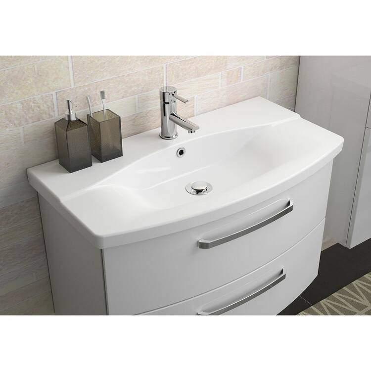 Badezimmer Waschtisch FES-4010-66 mit 80cm WB-Unterschrank & Keramikbecken  in weiß glänzend - B/H/T: 84/54/46cm