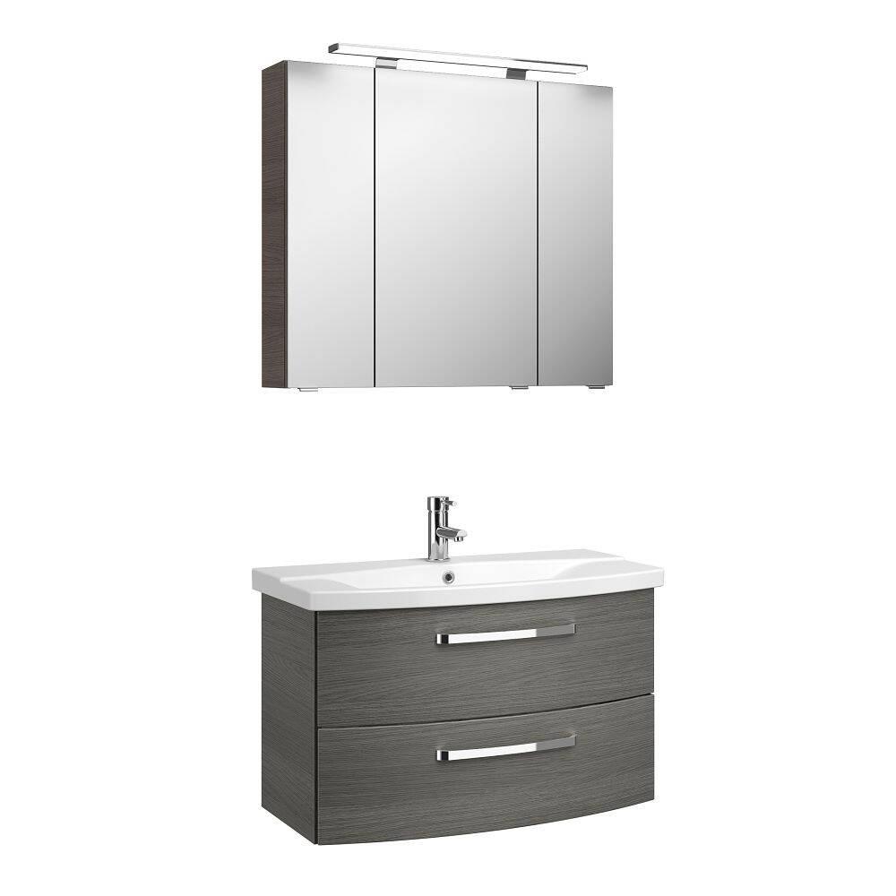 Badezimmer-Set Waschtisch und Spiegel FES-4010-66 Dekor Graphit Struktur quer Nb. mit Keramikbecken & LED - B/H/T: 84/175/46cm