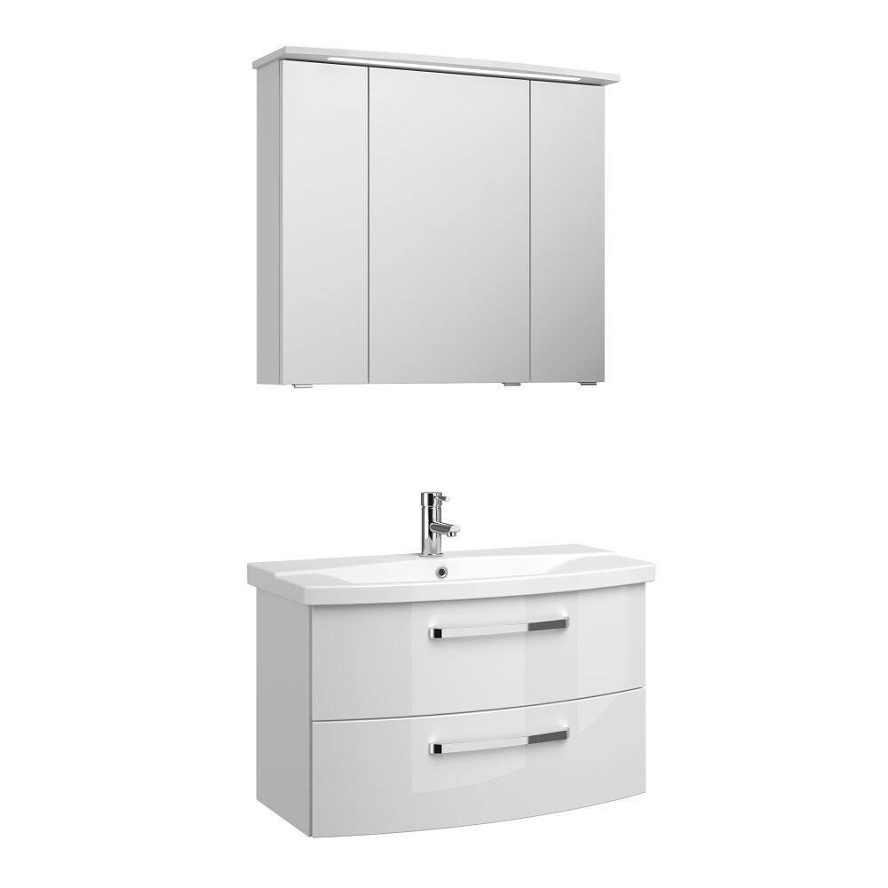Badezimmer Waschplatz FES-4010-66 mit WB-Unterschrank & Keramik Waschbecken in weiß glänzend - B/H/T: 84/175/46cm