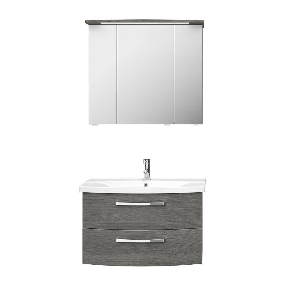 Badmöbel-Set FES-4010-66 Waschtisch und Spiegelschrank in Dekor Graphit Struktur quer Nb. - B/H/T: 84/175/46cm