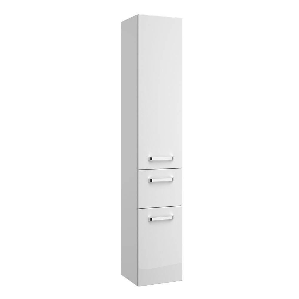 Badezimmer Hochschrank FES-4010-66 in weiß glänzend mit Soft-Close - B/H/T: 30/168/33cm