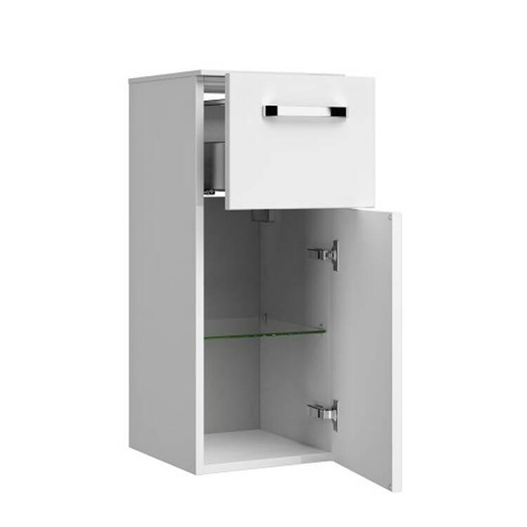 Badezimmer Unterschrank hängend FES-4010-66 in weiß glänzend mit 1 Tür & 2  Schubladen - B/H/T: 30/73/33cm