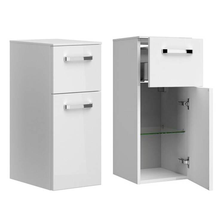 Badezimmer Unterschrank Hangend Fes 4010 66 In Weiss Glanzend Mit 1 Tur 2 Schubladen B H T 30 73 33cm