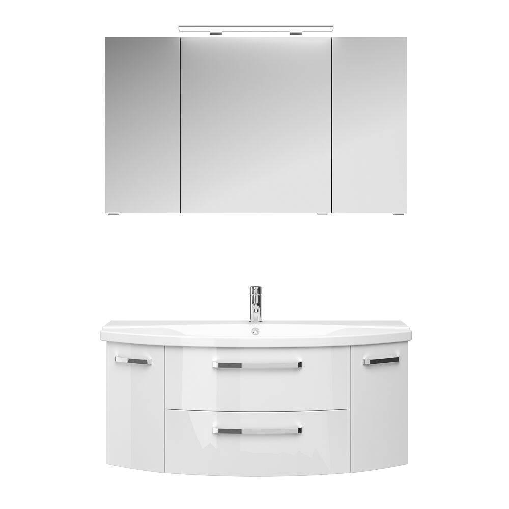 Waschplatz-Set FES-4010-66 Waschtisch Unterschrank & Keramik Waschbecken in weiß glänzend - B/H/T: 121/175/48cm