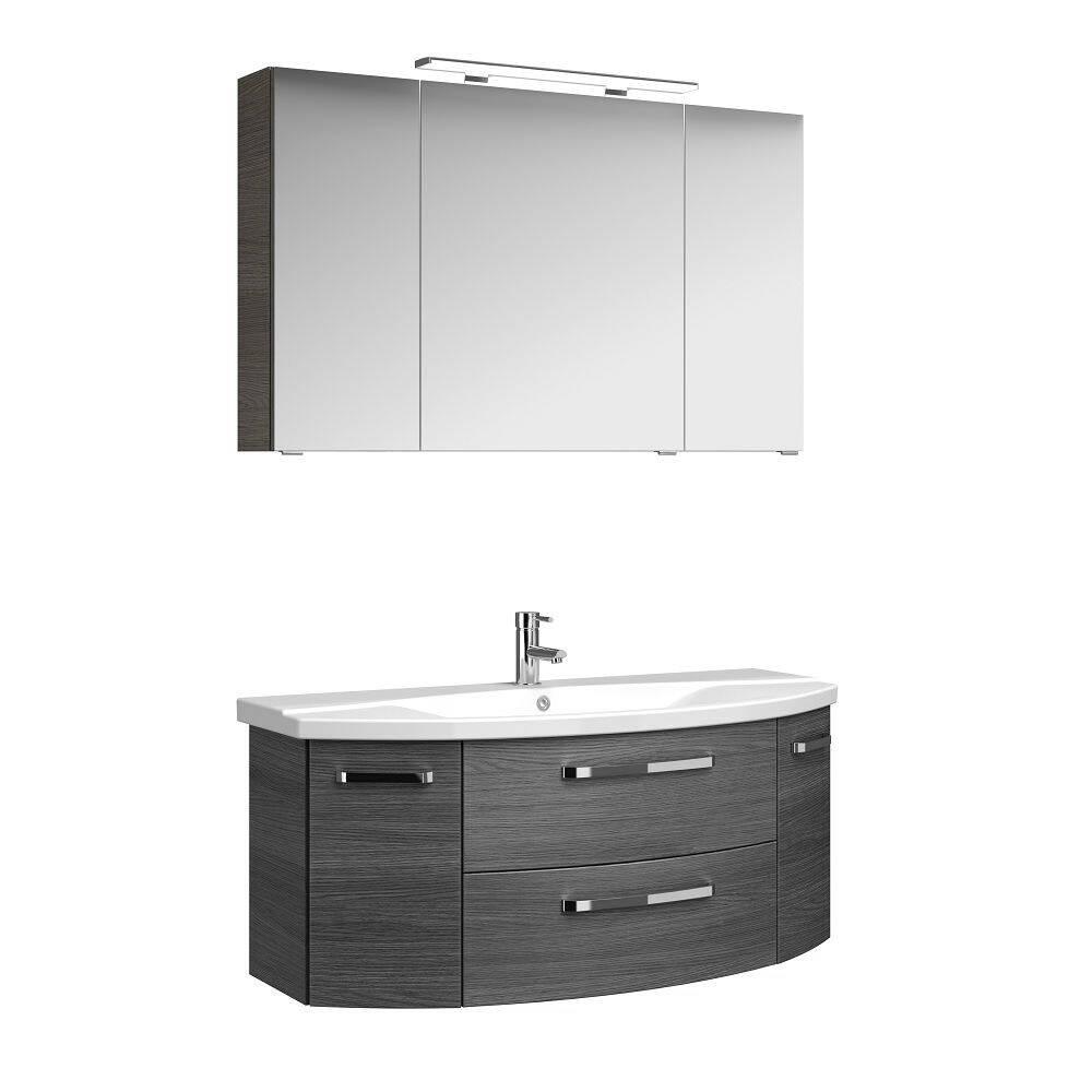 Badezimmer Waschplatz FES-4010-66 Dekor Graphit Struktur quer Nb. mit Waschbecken, Unterschrank und Spiegel - B/H/T: 121/175/48cm
