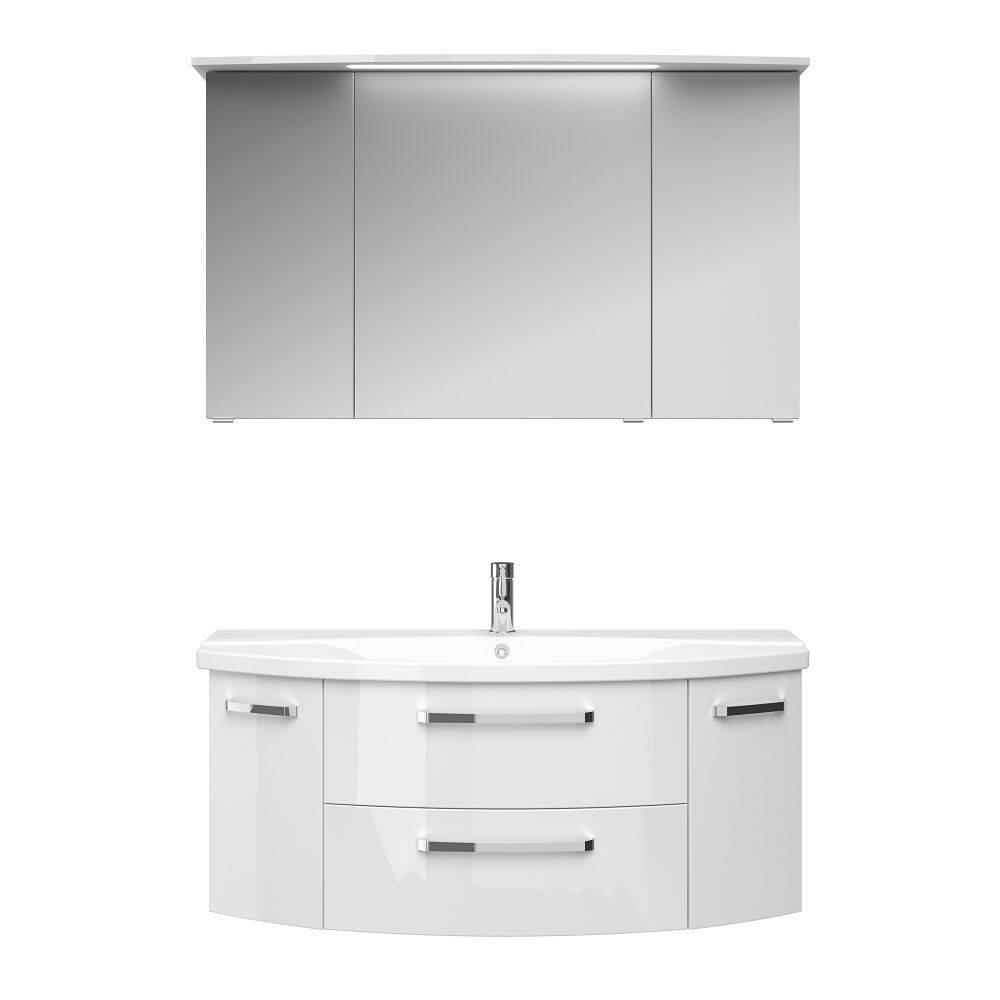 Waschplatz-Set FES-4010-66 mit Unterschrank, Keramikbecken und Spiegelschrank in weiß glänzend - B/H/T: 121/175/48cm