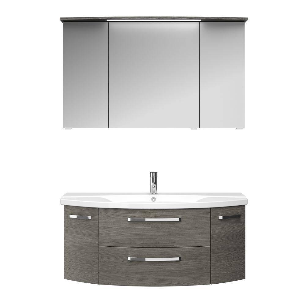 Badezimmer Waschtisch und Spiegelschrank FES-4010-66 Dekor Graphit Struktur quer Nb. mit Keramik Waschbecken - B/H/T: 121/175/48cm