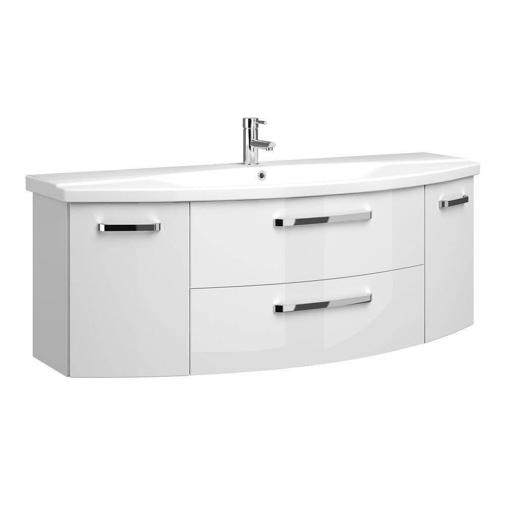 Badezimmer 15cm Waschtisch Hochglanz weiß FES-15-15 mit Keramik  Waschbecken - B/H/T: 15/15/15cm