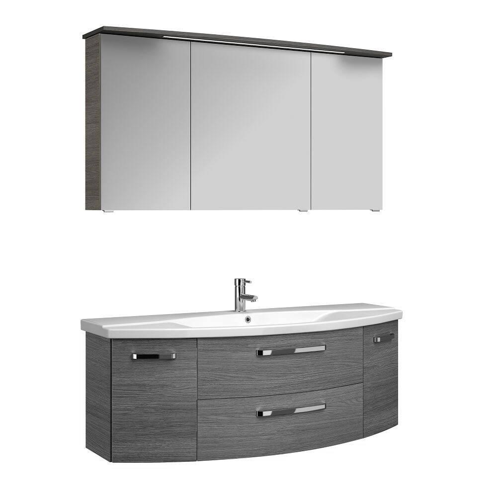 Badmöbel-Set Waschplatz FES-4010-66 Unterschrank, Becken & Spiegelschrank inkl. LED Dekor Graphit Struktur quer Nb. - B/H/T: 144/175/50cm