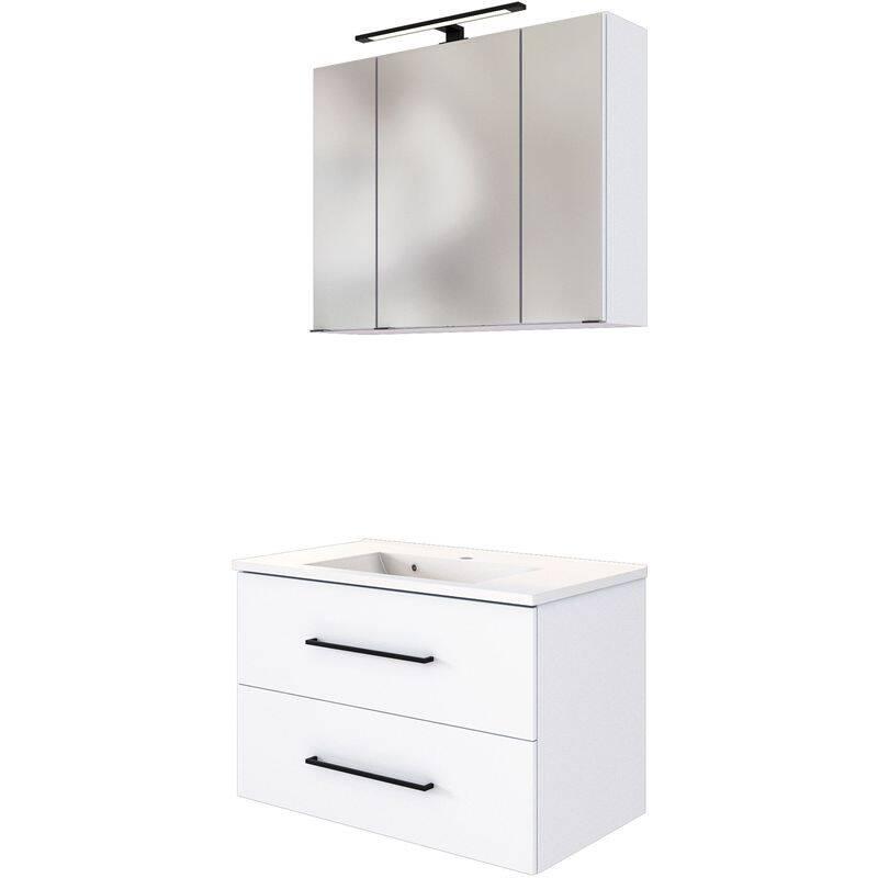 Waschplatz Set inkl. LED Spiegelschrank und Waschbecken MANLY-03 weiß B/H/T: 80/200/47 cm