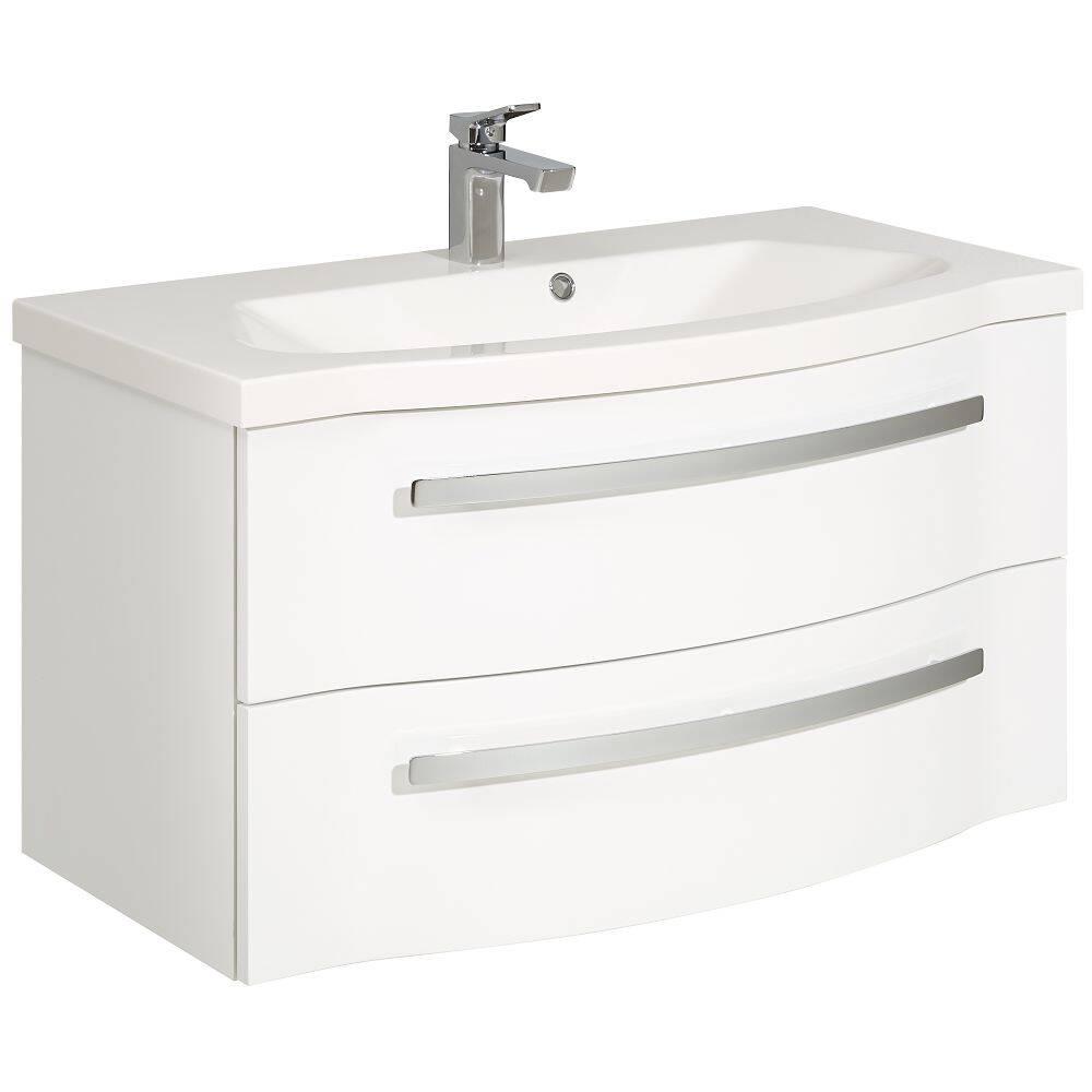 Badezimmer Waschtisch mit Mineralmarmor Waschbecken FES-4005-66 in Hochglanz Lack Polarweiß, 2 Schubladen - B/H/T: 92/52,2/49,6cm