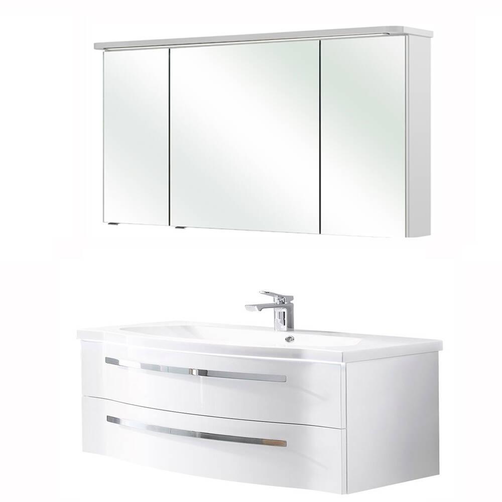 120er Waschtisch mit Becken & Spiegelschrank FES-4005-66 gerundete Front Hochglanz Lack Polarweiß - B/H/T: 122/200/49,6cm