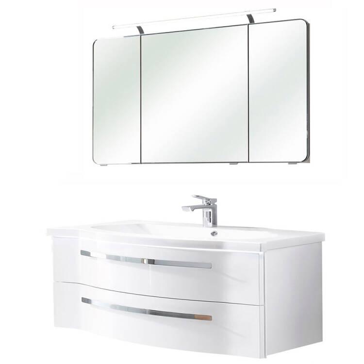 Bad-Set mit 120cm Waschtisch & Spiegelschrank FES-4005-66 in Hochglanz