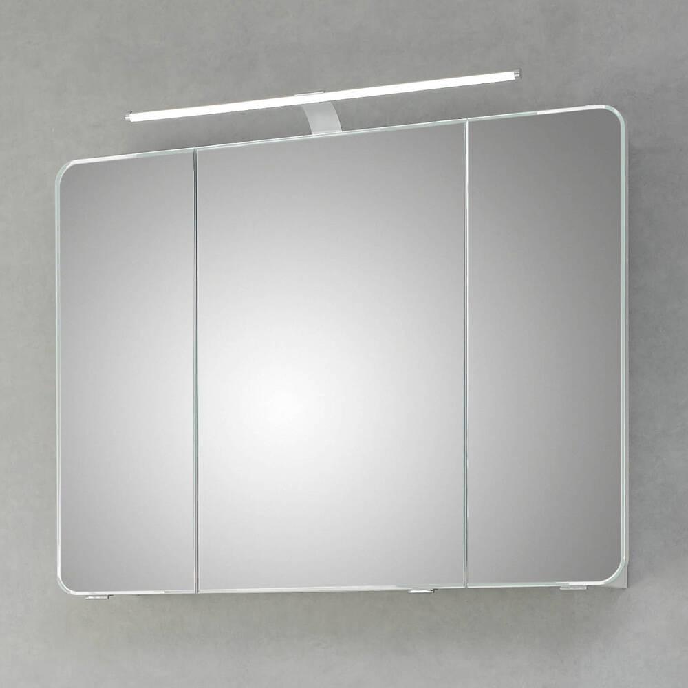 Badezimmer Spiegelschrank mit 3 Türen FES-4005-66 Korpus Lack Steingrau, inkl. LED & Steckdose - B/H/T: 90/72/17cm