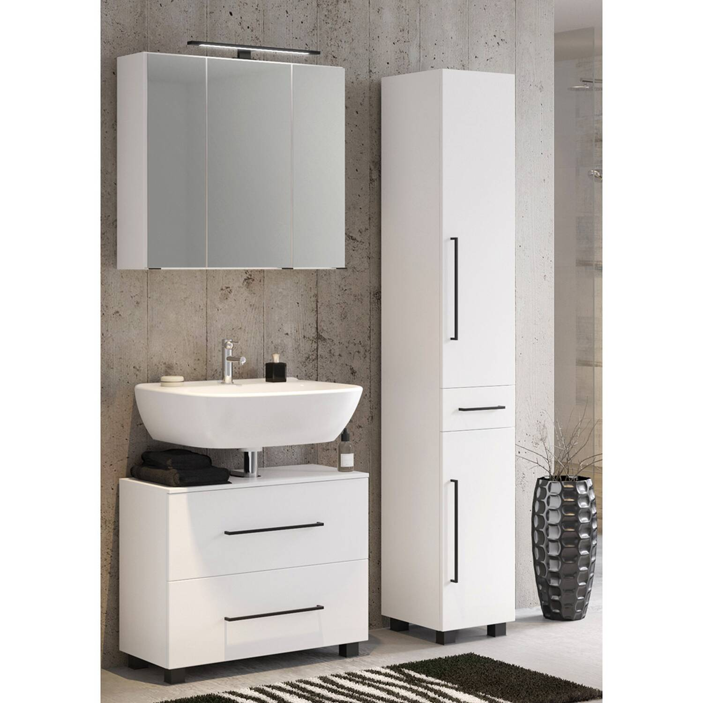 Badmöbel Set MANLY-03 in weiß 70 cm 3-Teilig inkl. LED-Spiegelschrank