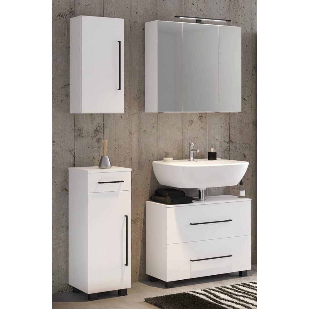 Badezimmer Möbel Set 4-teilig weiß MANLY-03 inkl. 70cm LED-Spiegelschrank