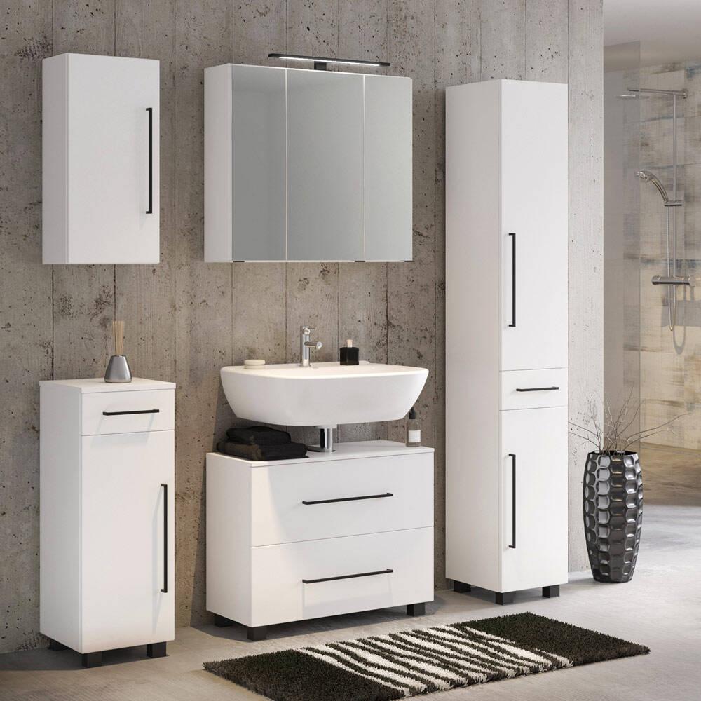 Badmöbel Set 5-teilig inkl. 70 cm Waschbeckenunterschrank in weiß MANLY-03
