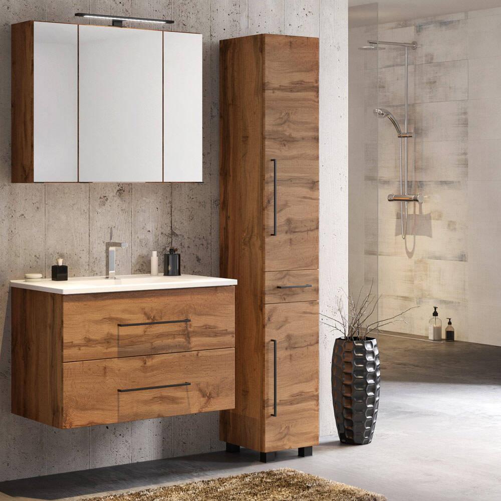 Badezimmer Möbel Set 3-tlg. MANLY-03 Wotaneiche Nb. inkl 80 cm Waschtisch