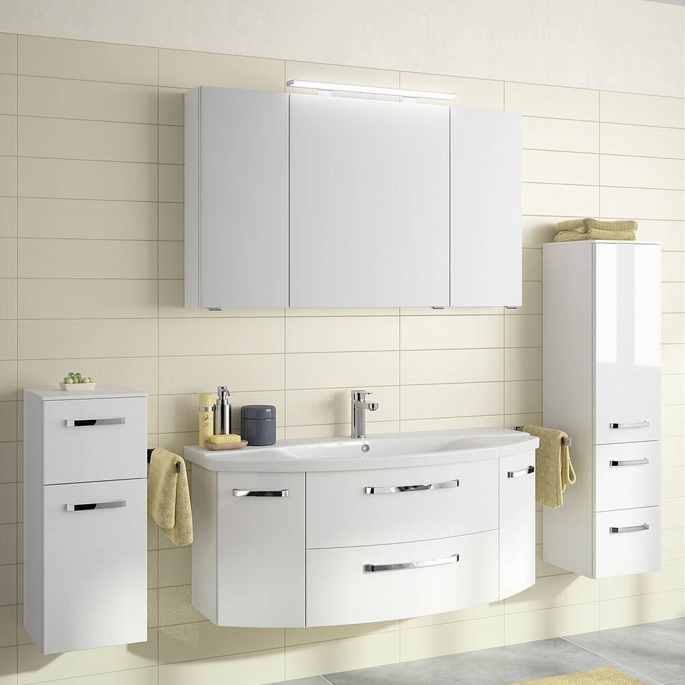 Badmöbel-Set FES-4010-66 in weiß glänzend Unterschrank mit gerundeter Front, Spiegelschrank mit LED - B/H/T: 211x200x48cm