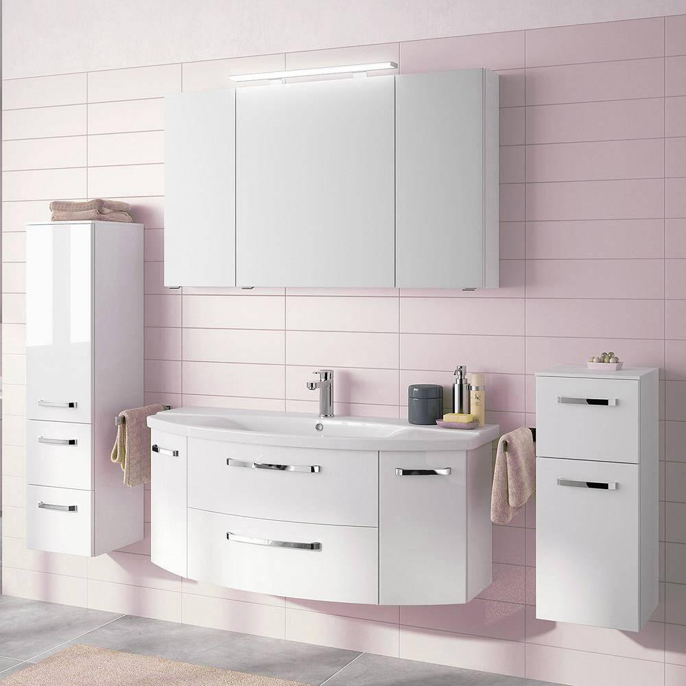 Badmöbel-Set4-tlg. FES-4010-66 in weiß glänzend mit 140cm Waschtisch, gerundet, mit Keramikbecken - B/H/T: 234x200x50cm