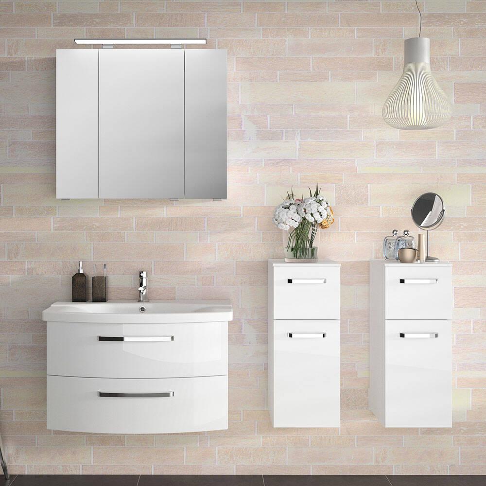 Waschplatz-Set und Hängeschränke FES-4010-66 in weiß glänzend mit Soft-Close - B/H/T: 174x200x46cm