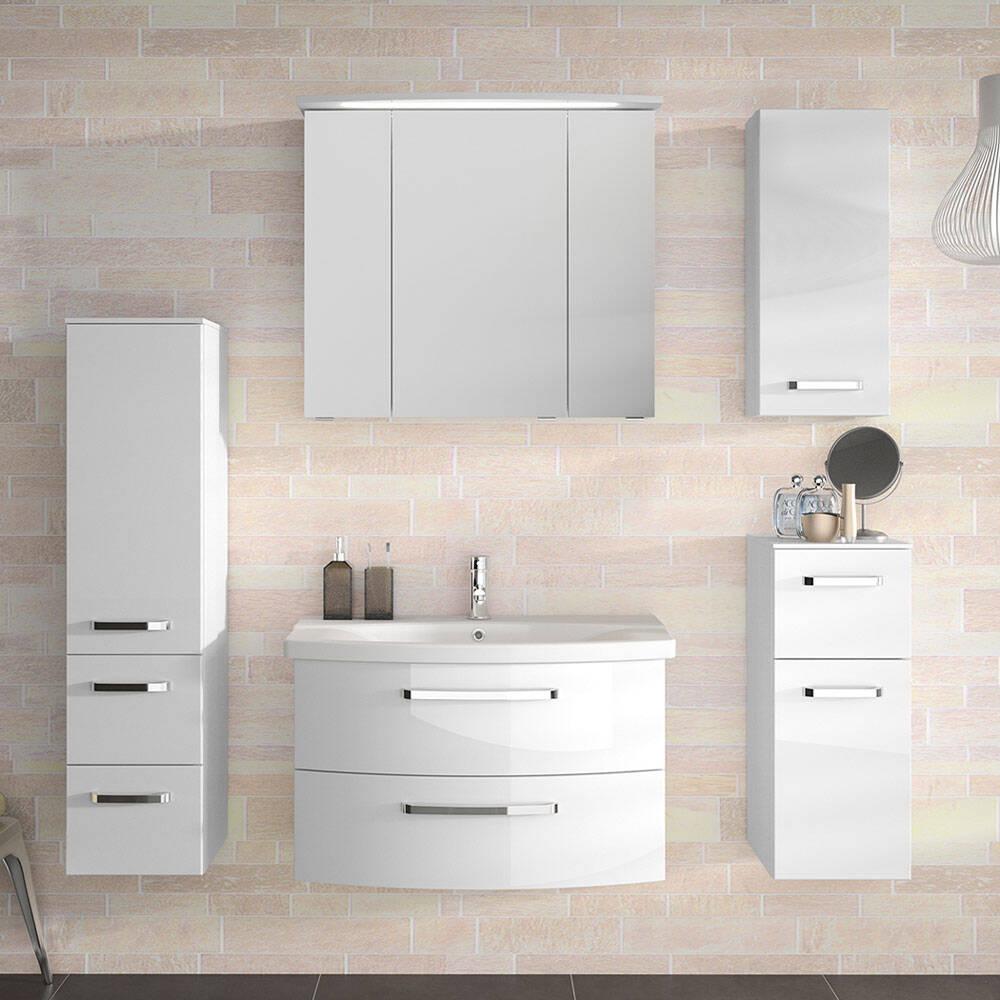 Badmöbel-Set 5-tlg. FES-4010-66 Fronten weiß Hochglanz, gerundeter Waschtisch, mit Soft-Close und LED - B/H/T: 174x200x46cm