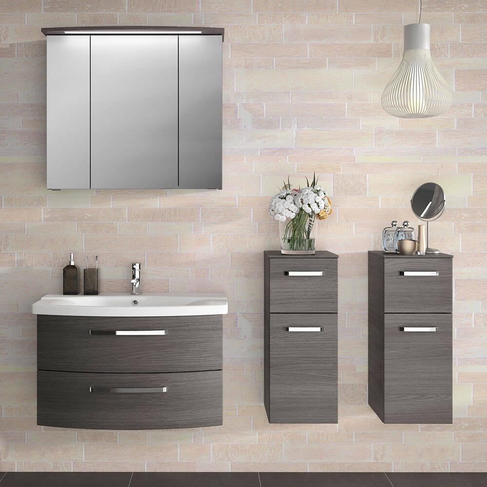 Badezimmer Möbel mit Waschplatz FES-4010-66 mit 2 Wandschränken, Dekor Graphit Struktur - B/H/T: 174x200x46cm