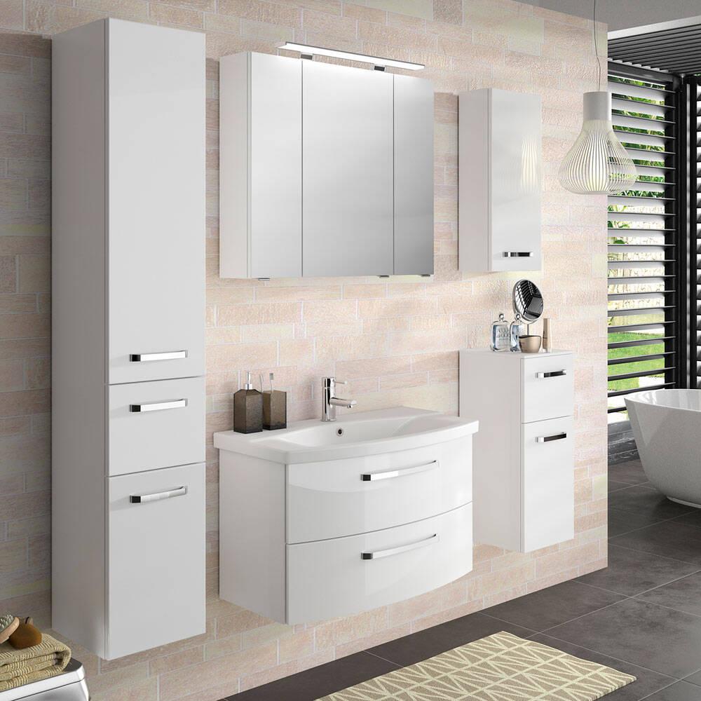Badmöbel Kombination FES-4010-66 Spiegelschrank mit LED, gerundeter Waschtisch mit Keramikbecken - B/H/T: 174x200x46cm