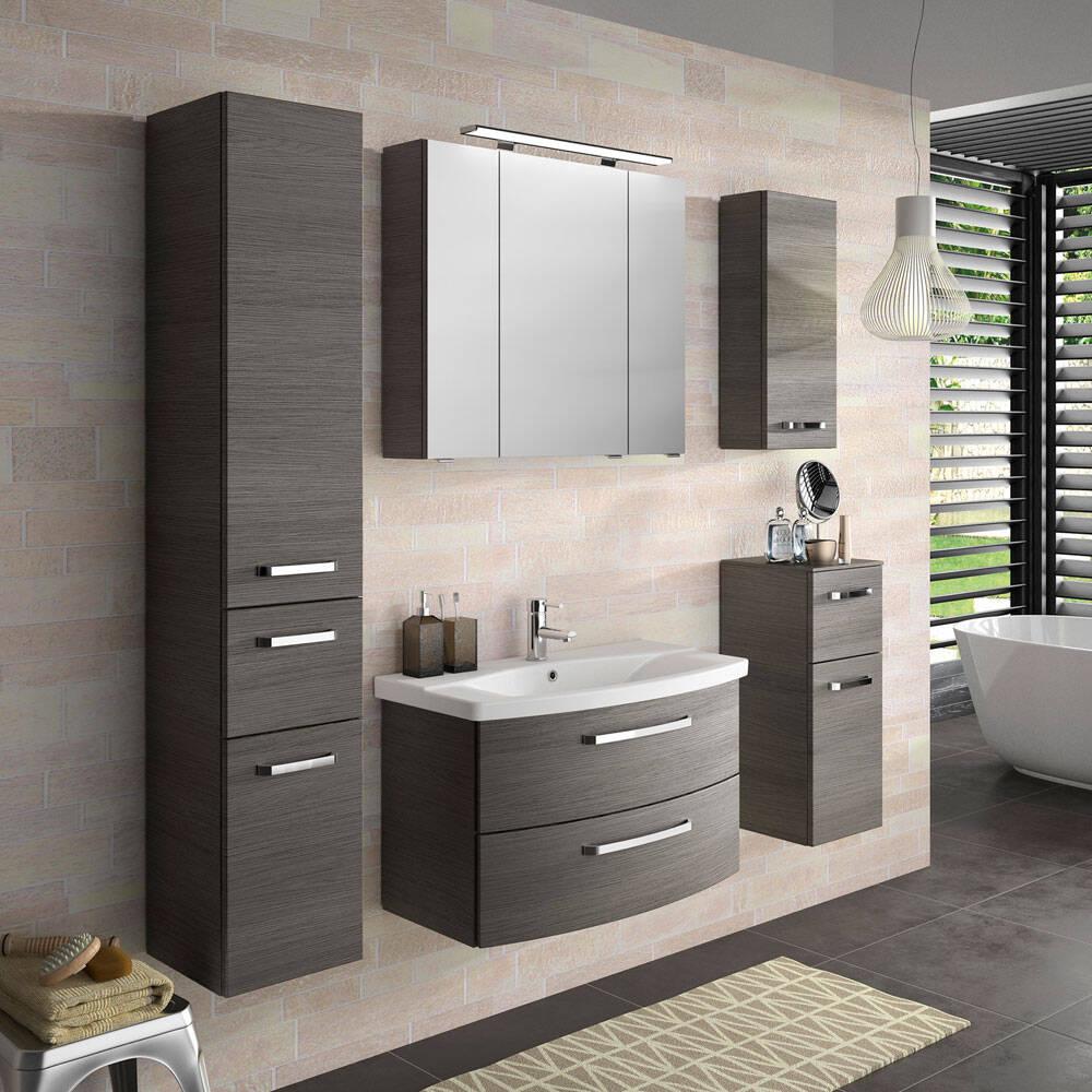 Badezimmer Möbel-Kombi in Graphit Struktur FES-4010-66 mit Waschtisch, Spiegelschrank, 3 Hängeschränken - B/H/T: 174x200x46cm