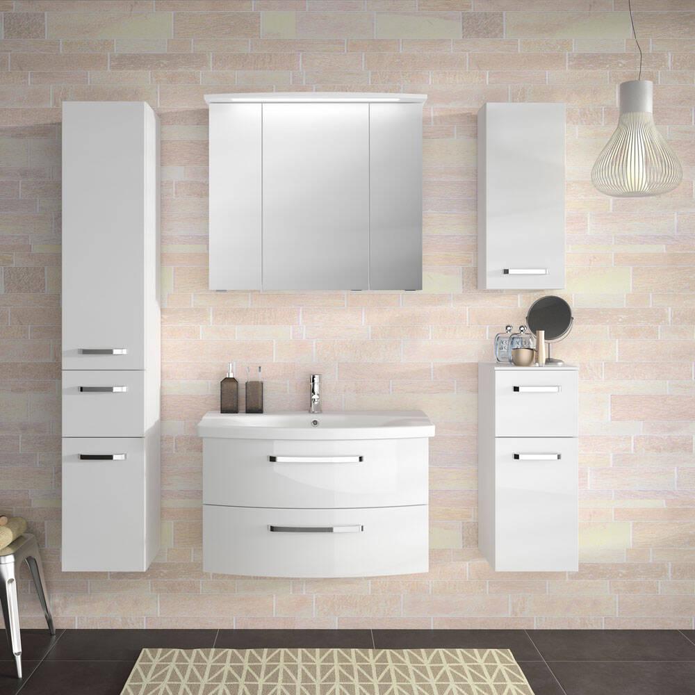 Badezimmer-Set FES-4010-66 mit weißen, hochglänzenden Fronten, Soft-Close und LED 5-tlg. - B/H/T: 174x200x46cm