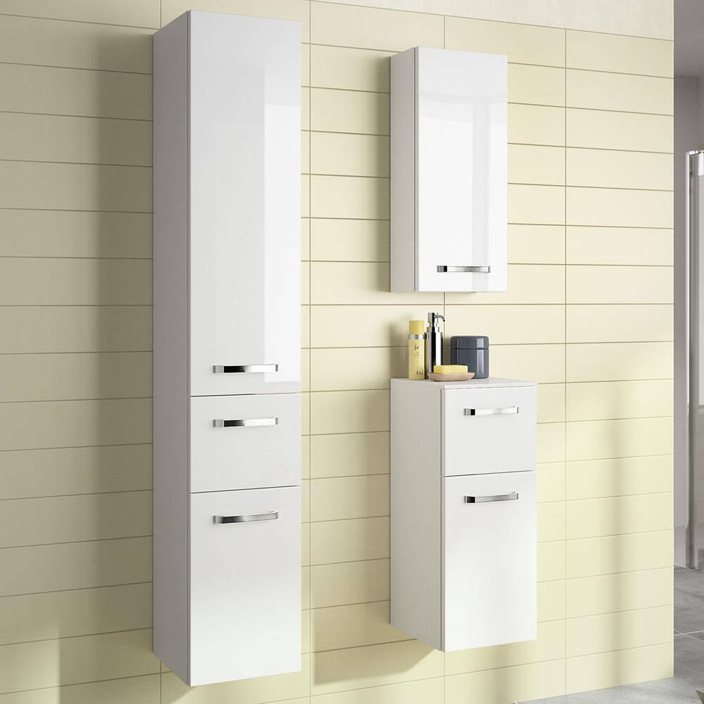 Badschrank-Set 3-tlg. FES-4010-66 in weiß glänzend, hängende Montage, mit Soft-Close - B/H/T: 84x0x46cm