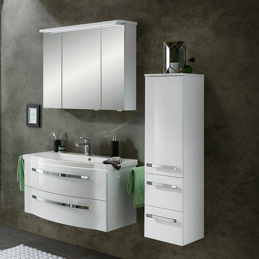 Bad-Set mit Waschtisch & Spiegelschrank FES-4005-66 in Polarweiß Lack - B/H/T: 137/200/49,6cm