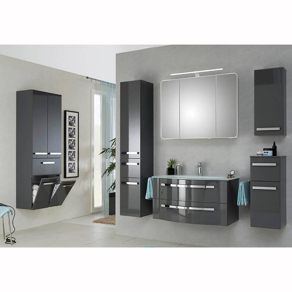 Badezimmer Komplettset mit großem Wandschrank FES-4005-66 in Hochglanz Lack Steingrau - B/H/T: 257/200/49,1cm