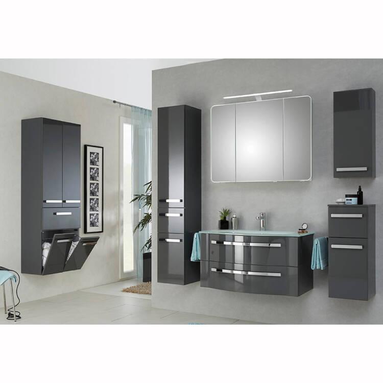 Badezimmer Komplettset mit großem Wandschrank FES-4005-66 in Hochglanz