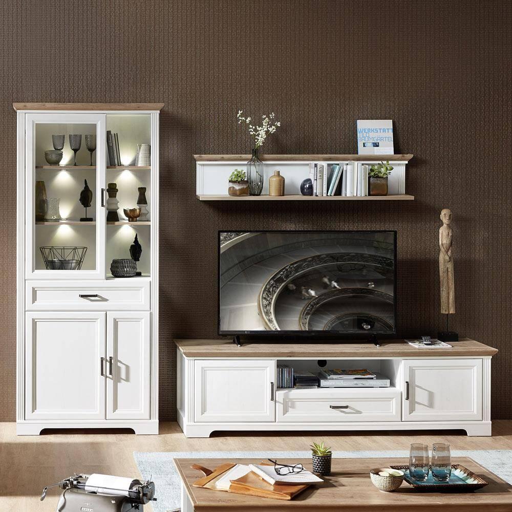 TV-Wohnlösung JÜLICH-36 inkl. großer Vitrine mit LED im Landhaus-Design Pinie hell & Artisan Eiche Nb. B/H/T 299x204x51cm