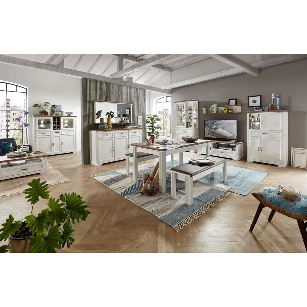Komplett Möbelset 11-tlg. JÜLICH-36 Landhausstil in Pinie weiß und Artisan Eiche Nb., Wohnwand B/H/T: 359/204/51cm