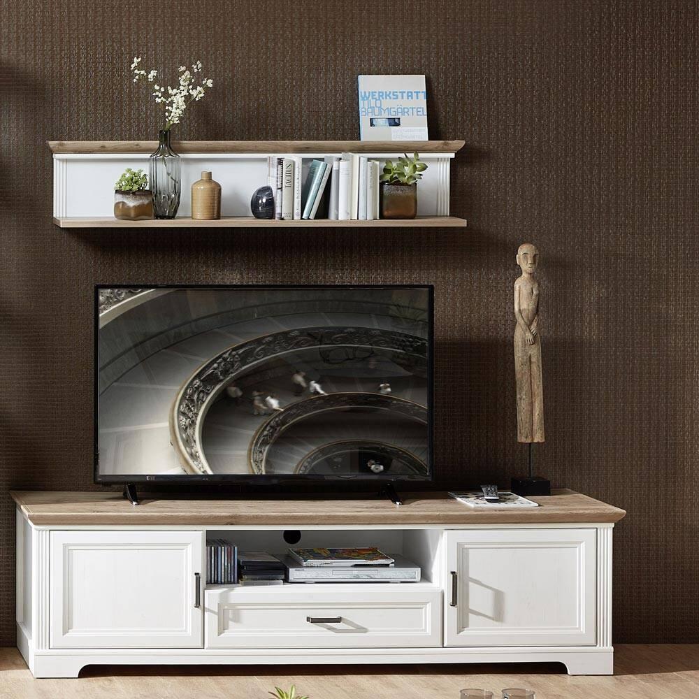 TV-Lowboard & Wandregal JÜLICH-36 in Pinie weiß und Artisan Eiche Nb., mit Kabeldurchlass - B/H/T: 193/133/51cm